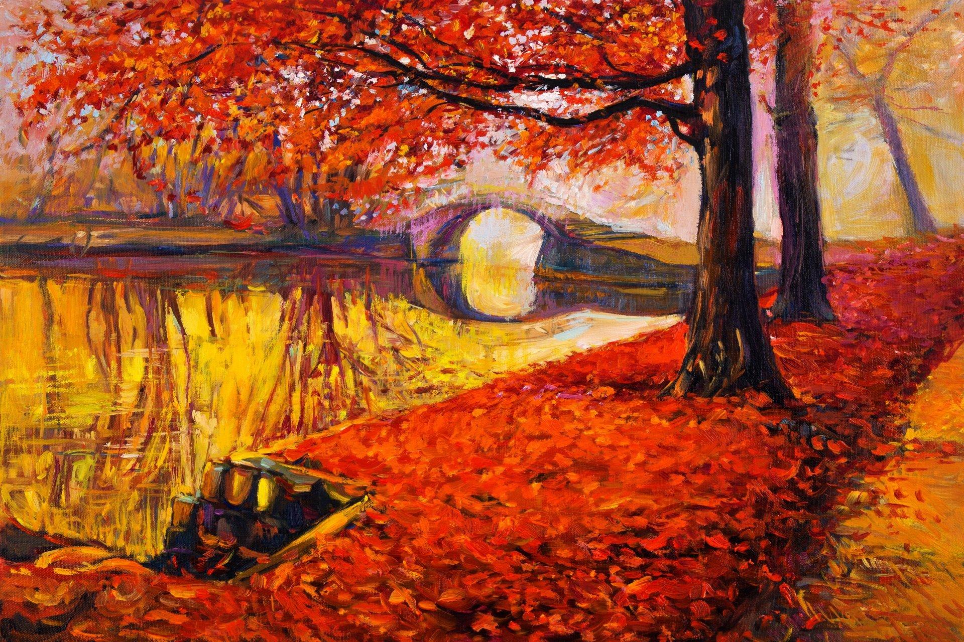 1920x1280 Painting Landscape Autumn Oil Watercolor Pattern Paint Hd Wallpaper