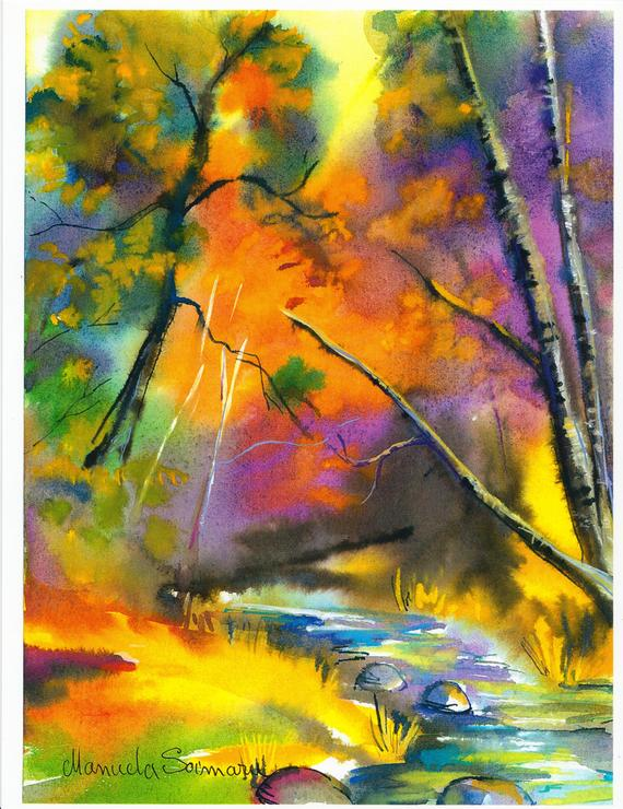 570x740 Forest Watercolor Autumn Scenes Forest Art 8x11 Print Nature Etsy