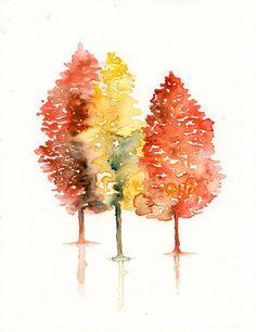 Watercolor Fall Trees