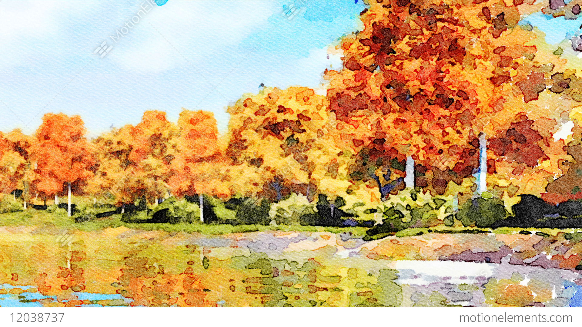 1920x1080 Watercolor Landscape With Autumn Trees And Lake Stock Animation