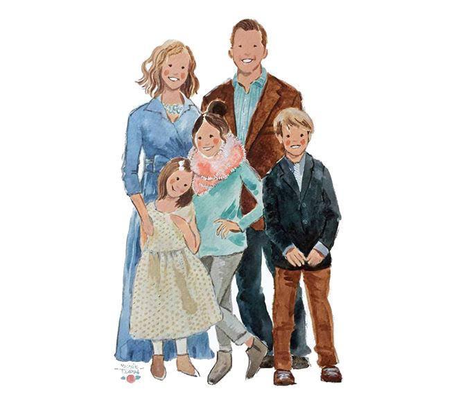 648x600 Custom Family Portrait Custom Watercolor Portrait Custom Etsy