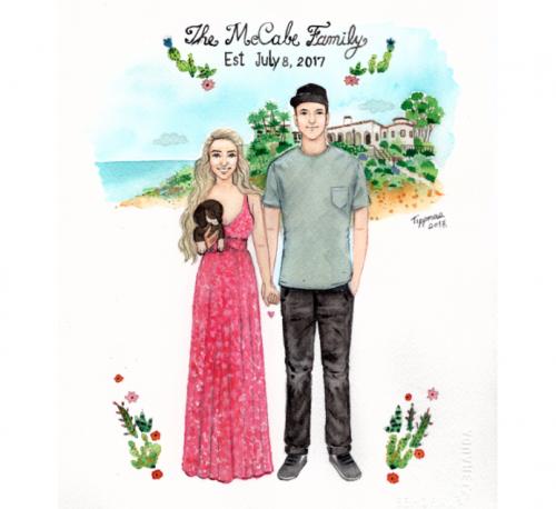 500x458 Custom Watercolor Portrait, Custom Family Portrait, Wedding