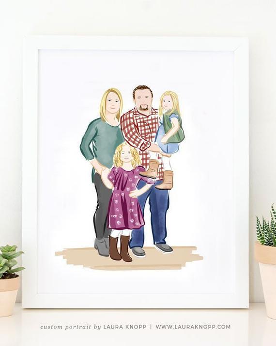 570x713 Watercolor Family Portrait Illustration Custom Portrait Etsy