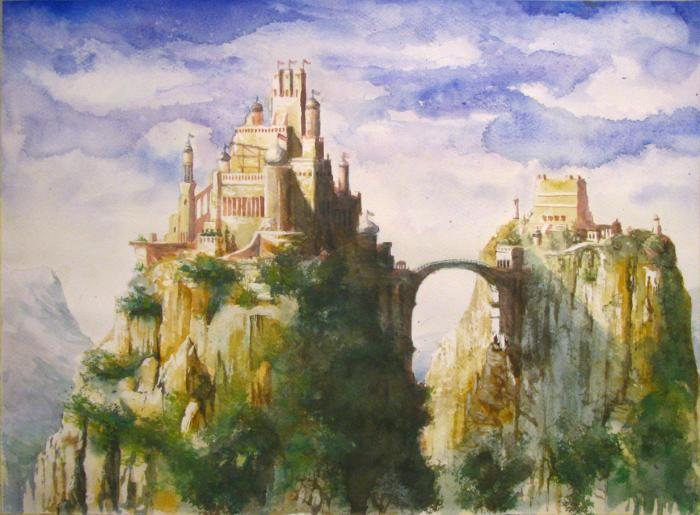 700x515 Fantasy Landscape, Watercolor On Paper, Glozic Milan Art For Sale