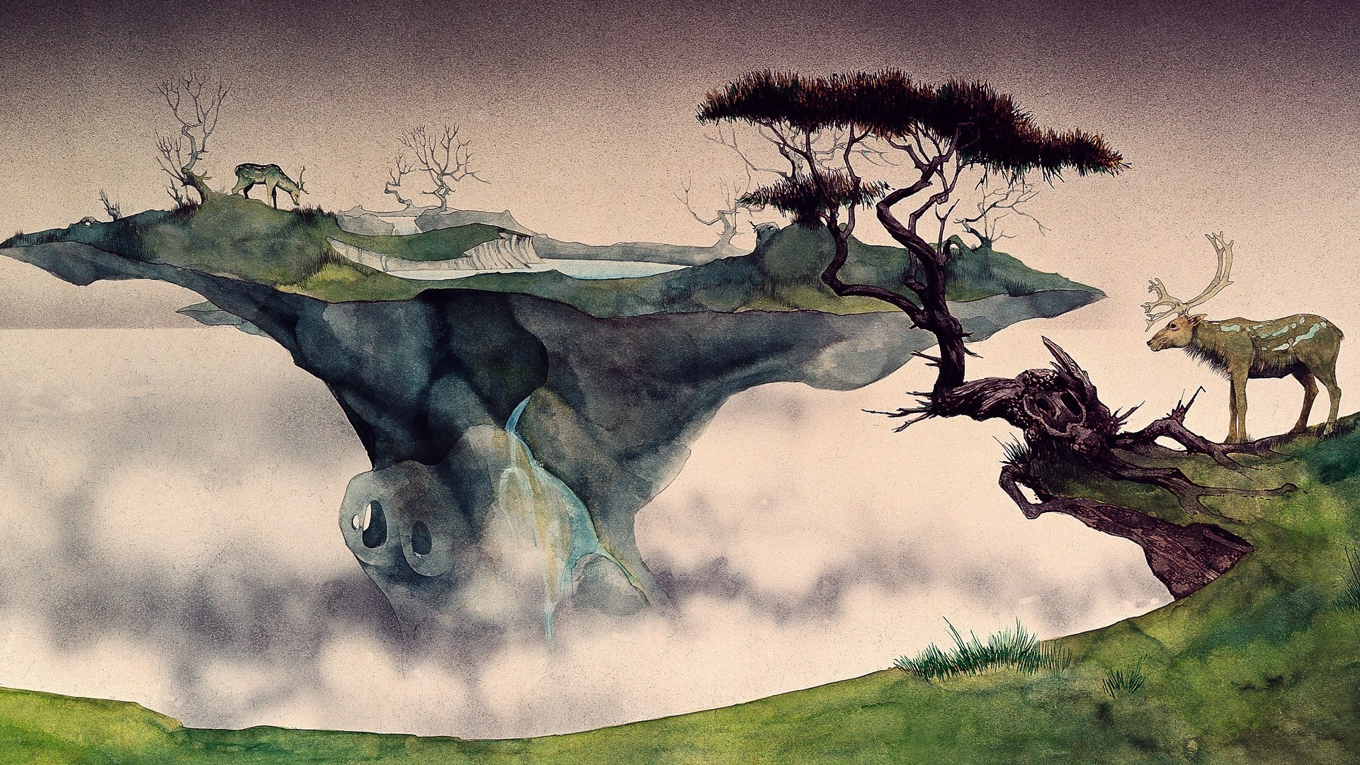 1920x1080 Wallpaper Trees, Drawing, Painting, Illustration, Deer, Animals