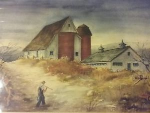 300x225 American Farm W Barn Watercolor Landscape By Dick Crocker Listed