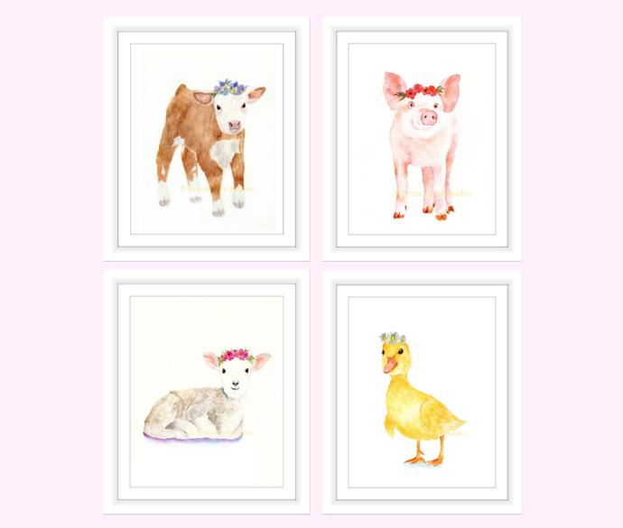 690x585 Flower Crown Farm Animals, Set Of 4 By Breezy Bird Goodies On Zibbet