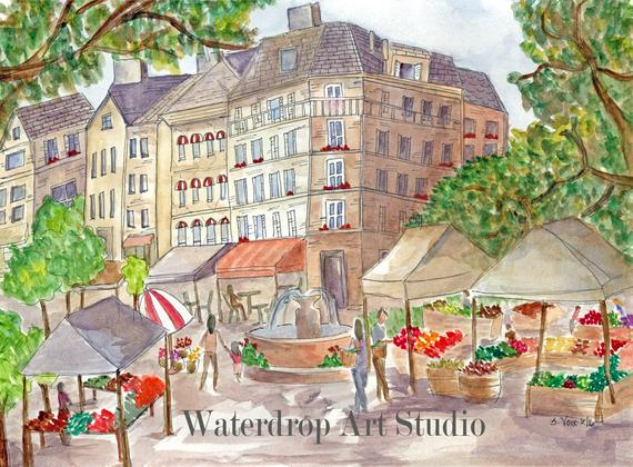 570x420 French Art Print Paris Print French Watercolor Paris Wall Etsy