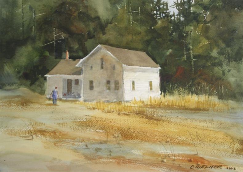 790x559 Cathy Welner (Ohio, 20th Century) Farmhouse, Watercolor,