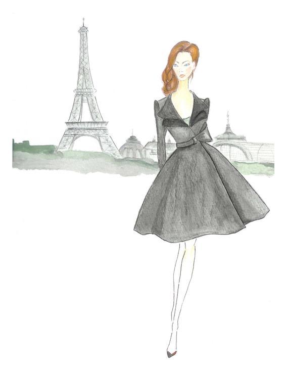 570x738 Paris Girl Watercolor Fashion Illustration Girls Room Decor Etsy