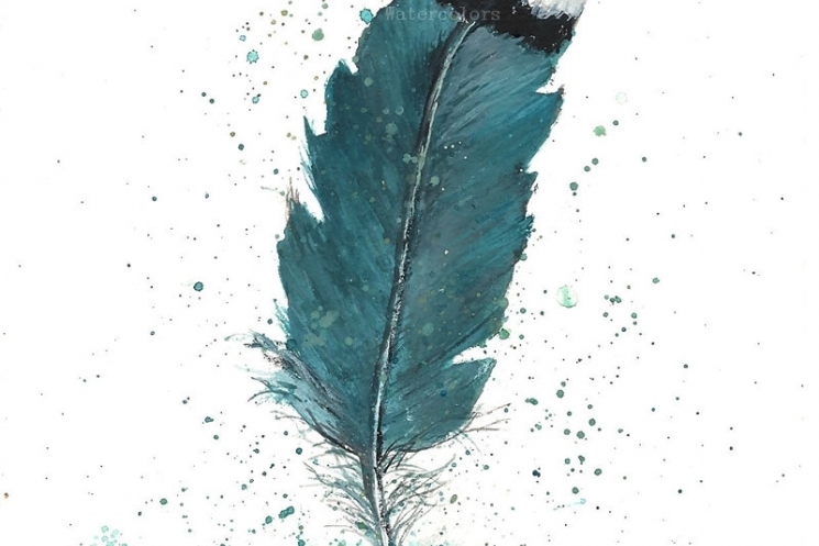 745x497 Original Watercolor Feather Study, Turquoise Feather, Original