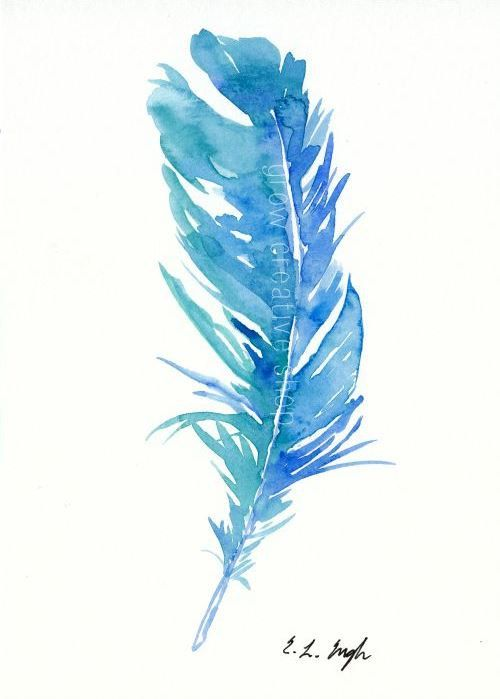 500x699 Blue Teal Bird Feather, Original Watercolor Painting, 5x7, Blue