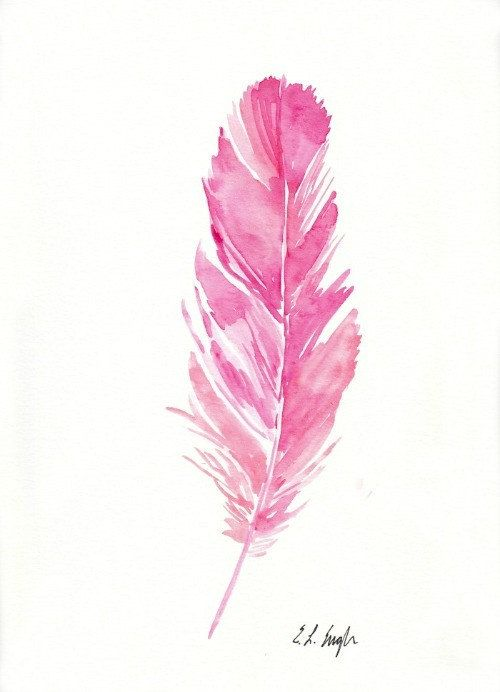 500x692 Pink Watercolor Feather Painting, Original Artwork, 9x12, Pink
