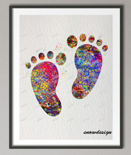 539x640 Diy Original Watercolor Baby Feet Wall Art Canvas Painting Baby