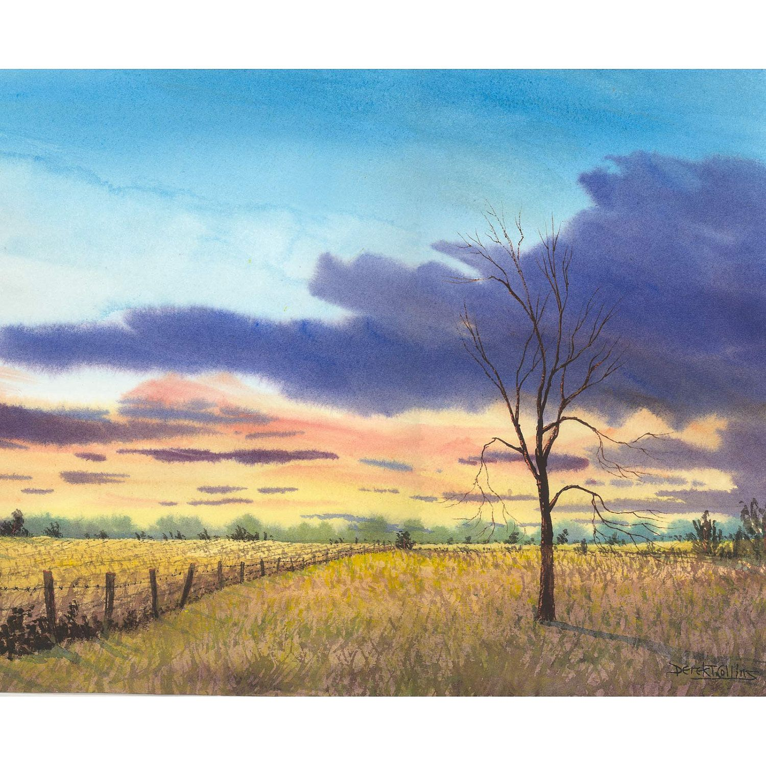 1500x1500 Landscape Painting Watercolor Landscape Print By Derekcollins
