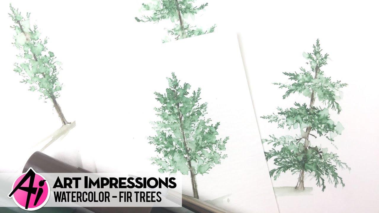 Watercolor Fir Trees