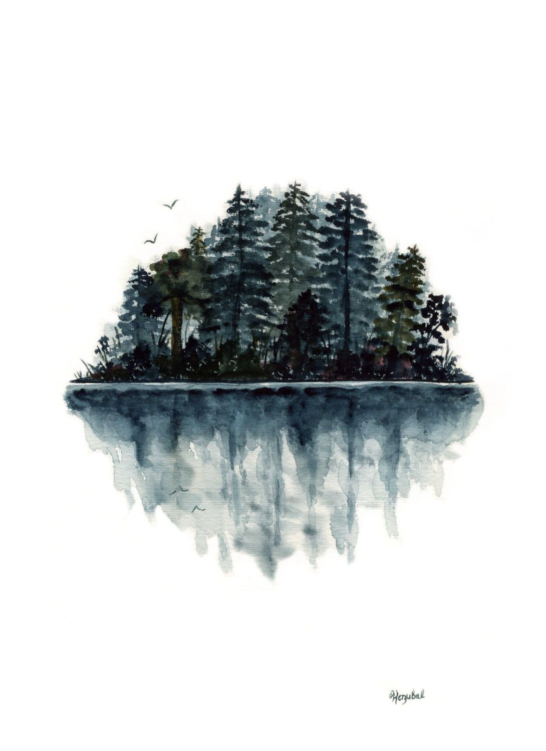 1090x1500 Original Watercolor Painting Forest Lake Reflection Birds