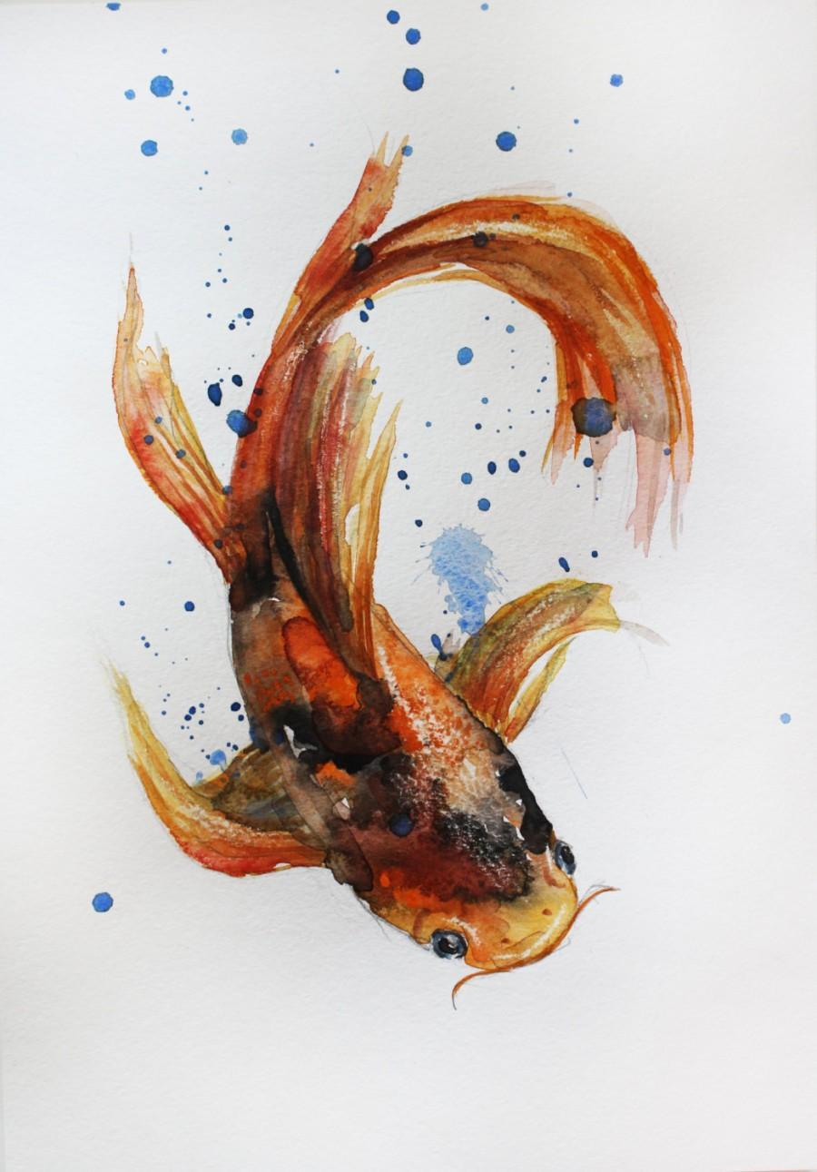 900x1291 Original Watercolor Painting Koi Fish Gold Fish Sea Children Room