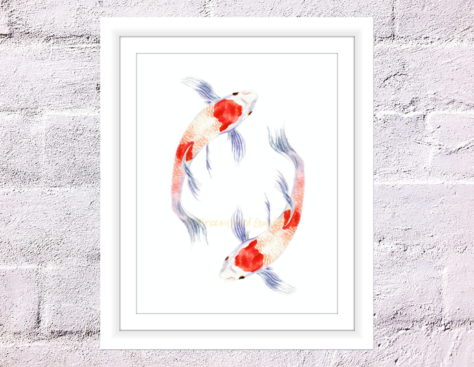 690x534 Koi Fish Print, Koi Painting, Koi Fish By Breezy Bird Goodies