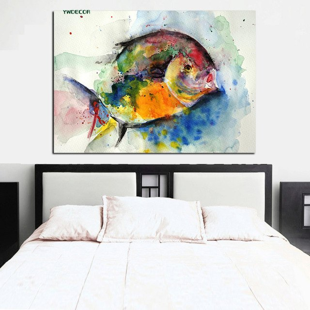 640x640 Ywdecor Print Watercolor Fish Ocean Painting Feng Shui Abstract