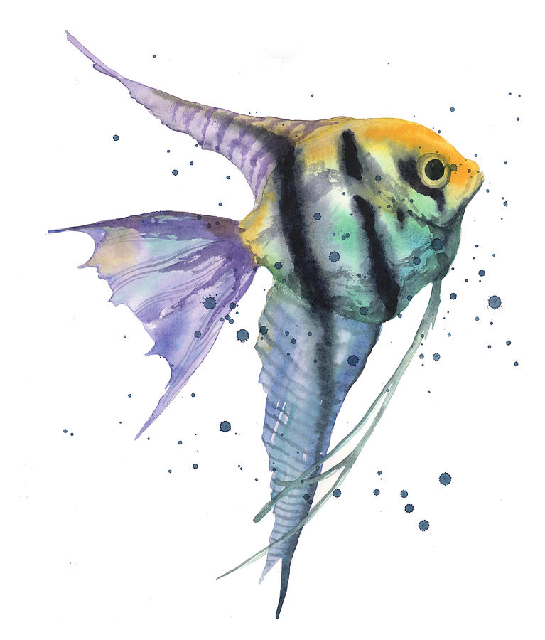 767x900 Alluring Angelfish Painting By Alison Fennell