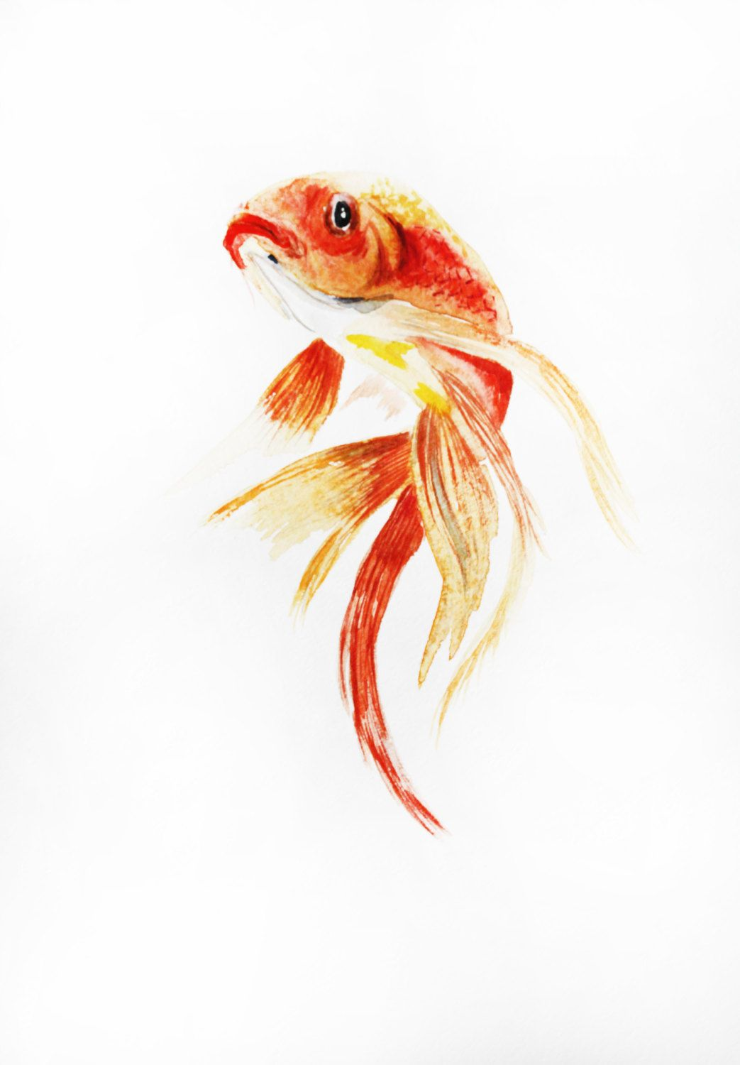 1043x1500 Gold Fish Watercolor Original, Original Art, Gold Fish Watercolor