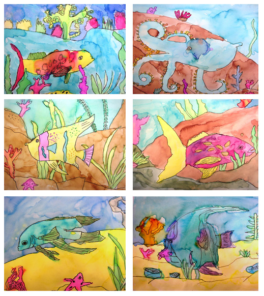 519x582 Watercolor Fish Art Project Deep Space Sparkle