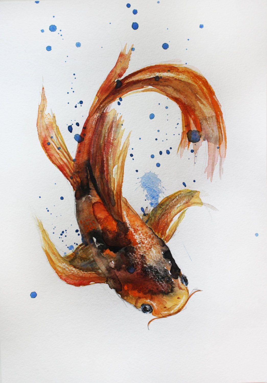 1045x1500 Fish Paintings Watercolor Original Watercolor Painting Koi Fish