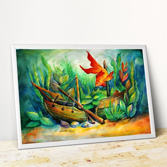 570x570 Fish Painting Watercolor Fish Art Aquarium Painting Golden Etsy