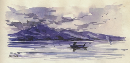 450x220 Drawing And Watercolor Of A Fisherman In The South China Sea