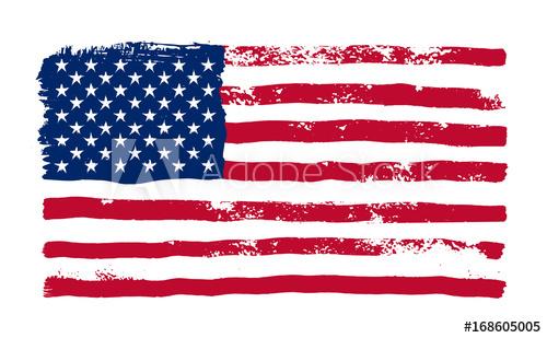 500x309 Grunge American Flag. Watercolor Flag Of Usa. Vector Illustration
