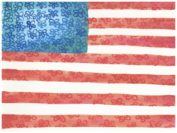 600x450 American Flag Floral Watercolor