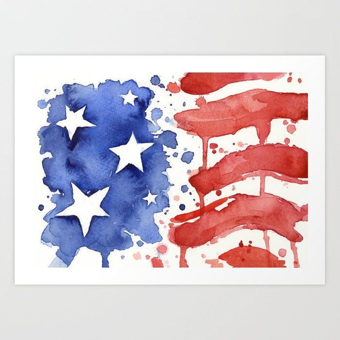 700x700 American Flag Watercolor Abstract Stars And Stripes Art Print By