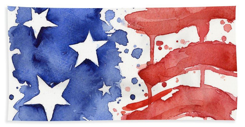967x500 American Flag Watercolor Painting Beach Towel For Sale By Olga