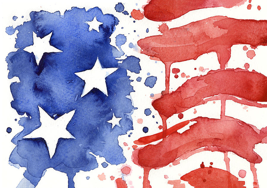 900x635 American Flag Watercolor Painting Painting By Olga Shvartsur