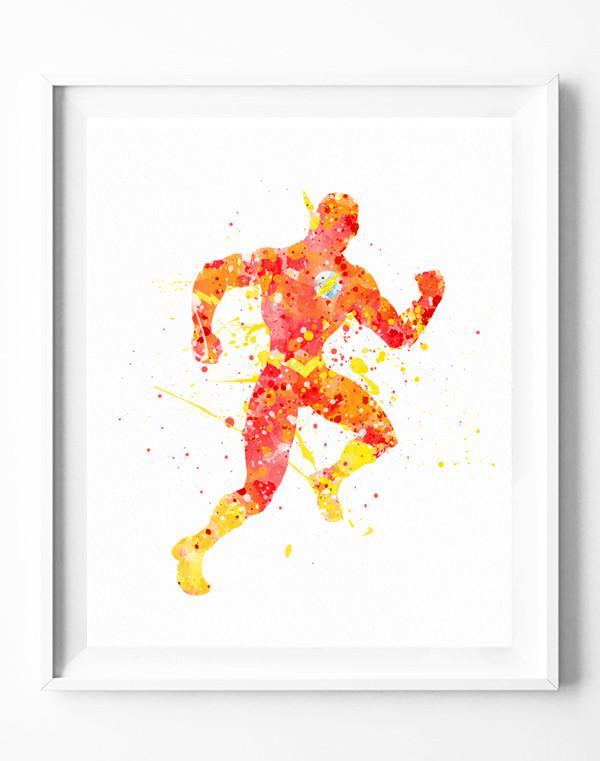 600x761 The Flash Poster Dc Justice League Art Print Superhero Watercolor