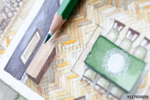 500x334 Sharp Green Glazed Wooden Pencil Tip Shot On Living Room
