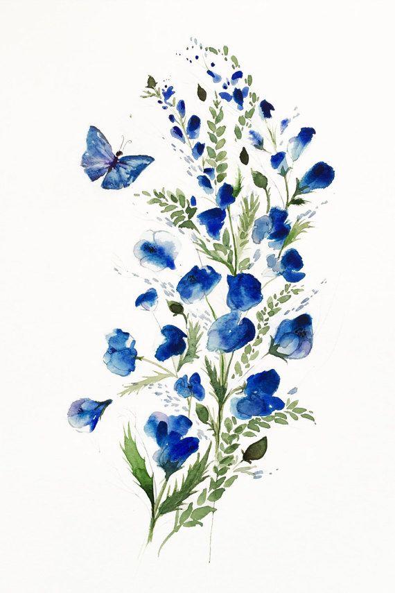 570x855 Flower Butterfly Art, Watercolor Flowers, Flower Giclee Print