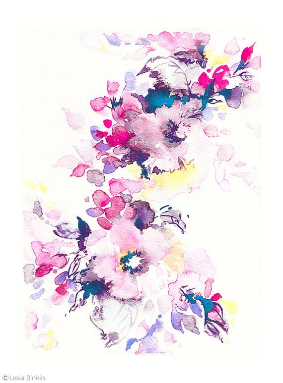 570x773 Bright Watercolor, Flower Art, Watercolor Flower Print, Abstract