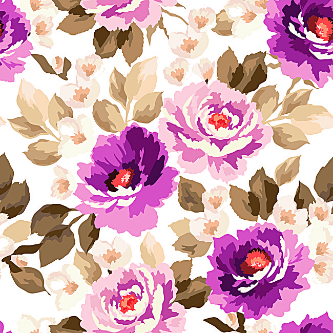 650x650 Purple Watercolor Floral Seamless Background Material, Purple