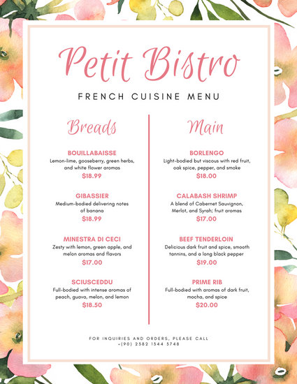425x550 Peach And White Watercolor Floral Border French Menu