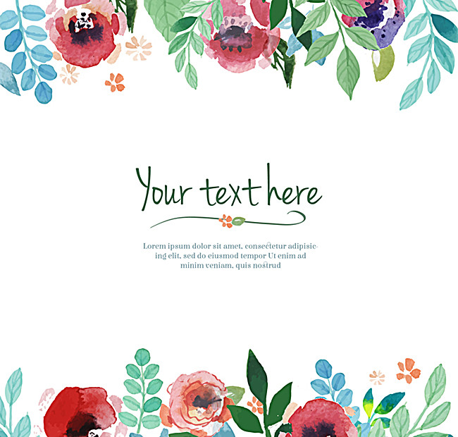 650x620 Watercolor Floral Border Background Material, Background Material