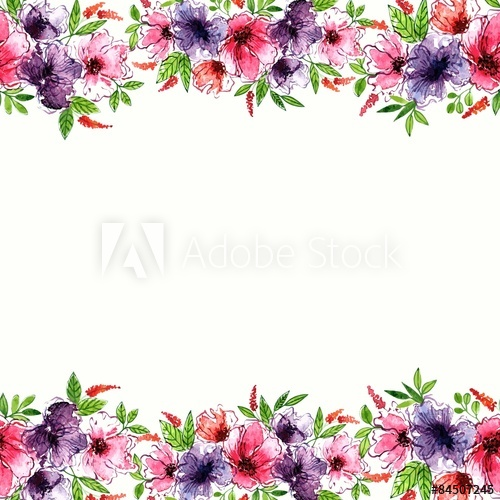 500x500 Floral Background. Watercolor Floral Border. Birthday Card.
