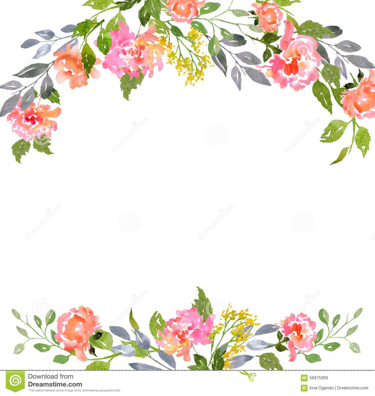 Watercolor Floral Border Paper Printable