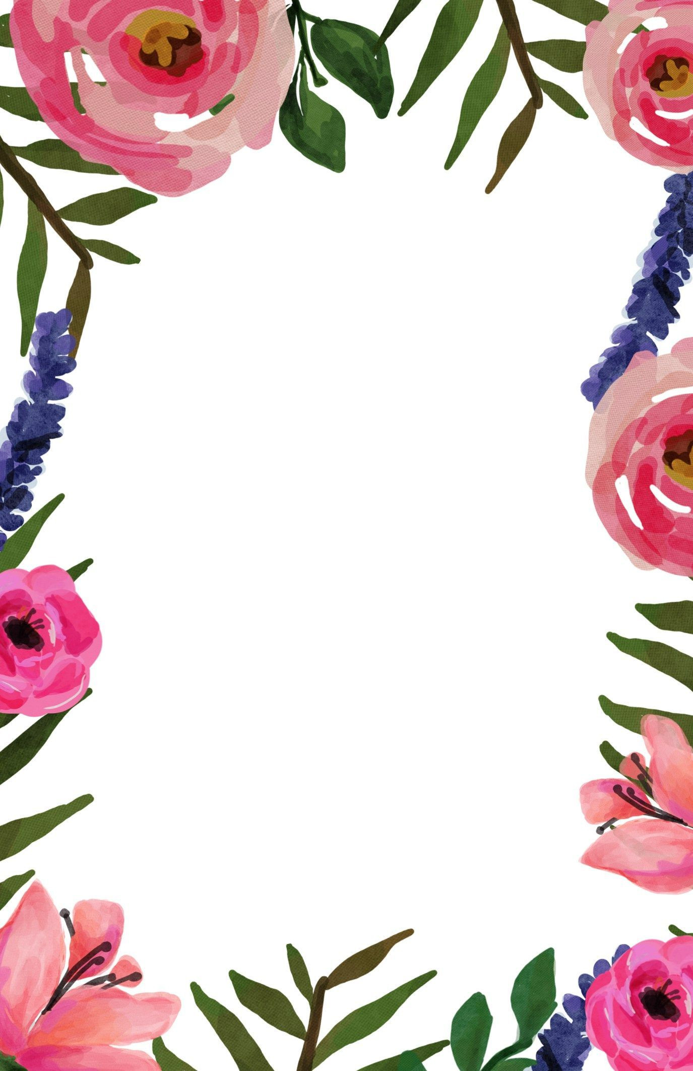Watercolor Floral Border Paper Printable At Getdrawings Com
