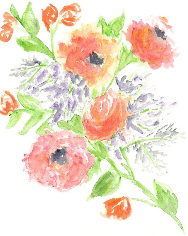 642x803 Flower Watercolor Art Watercolor Flower Print Floral Print Etsy