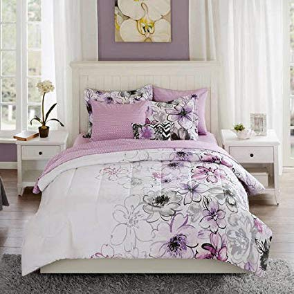 425x425 8 Piece Purple Watercolor Floral Comforter Set Queen