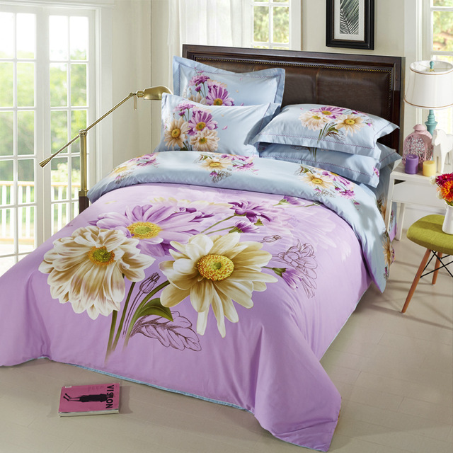 640x640 Blue And Lilac Daisy Bedding Set Queen King Size Bed Sheets 3d