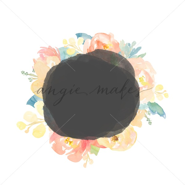 Watercolor Flower Circle