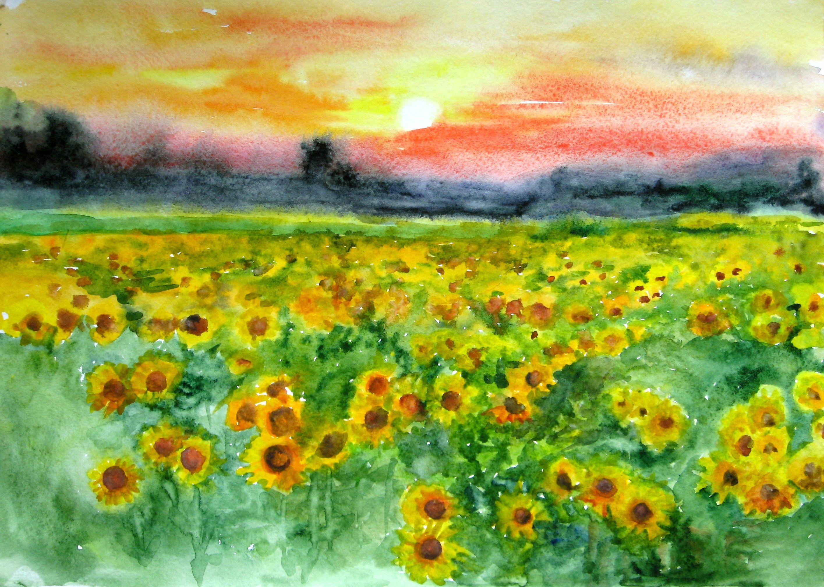2830x2018 Sunflower Painting Original Landscape Sunflowers Art Original